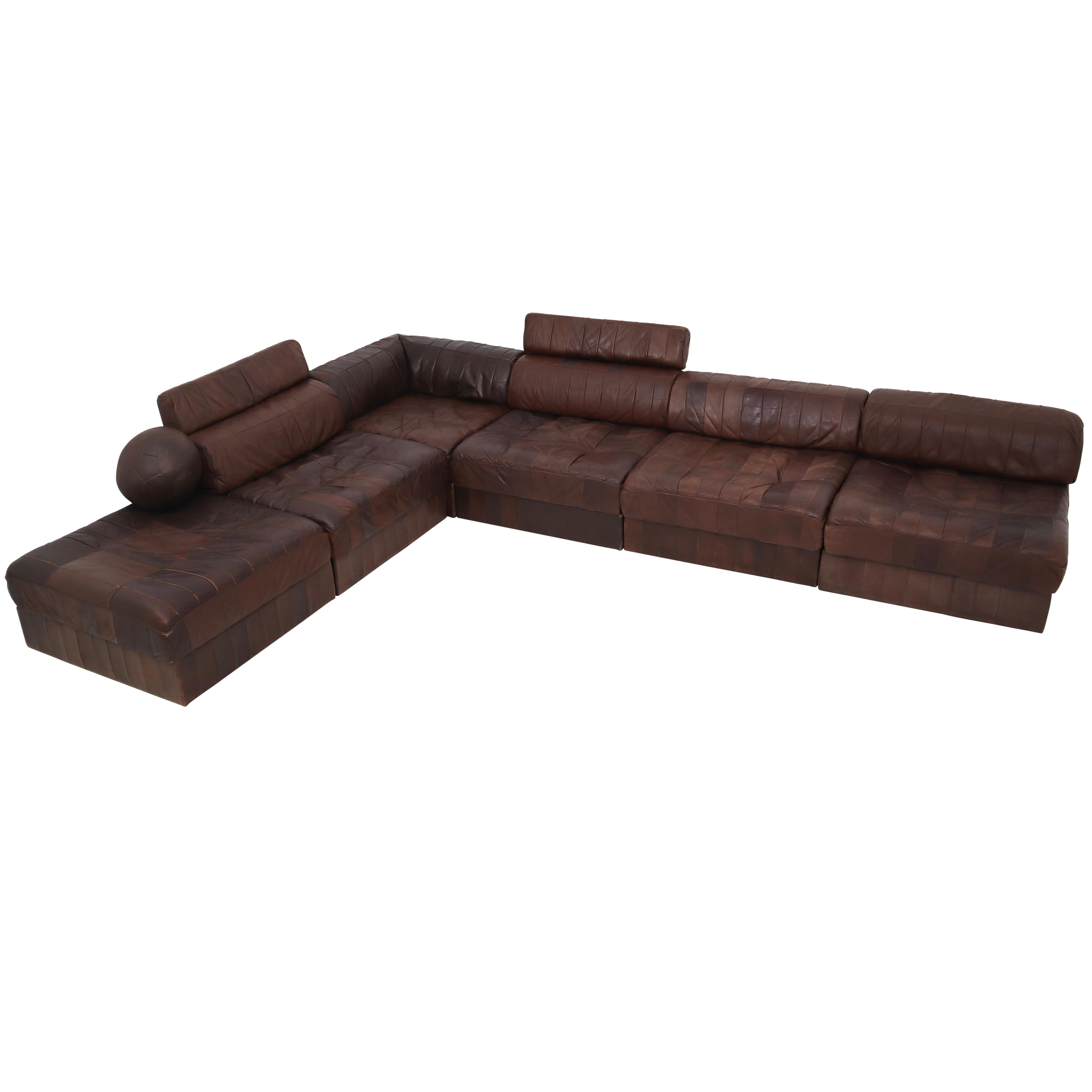 DS88 Modular Brown Cognac Leather Patchwork Sofa For De Sede, Switzerland