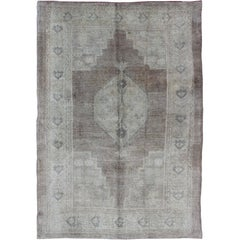 Vintage Oushak Rug rug with Mocha Color and Pale Neutral Colors