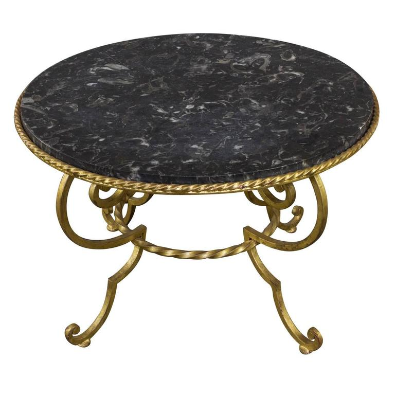 Gilt Metal Coffee Table with Grey Marble For Sale