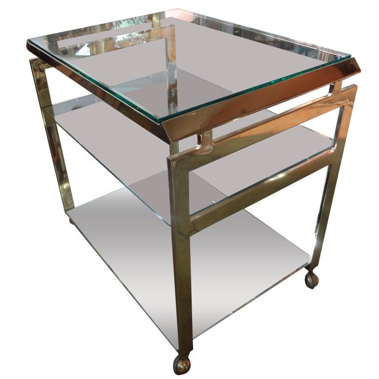 Italian Mid-Century Modern Brass Bar Cart