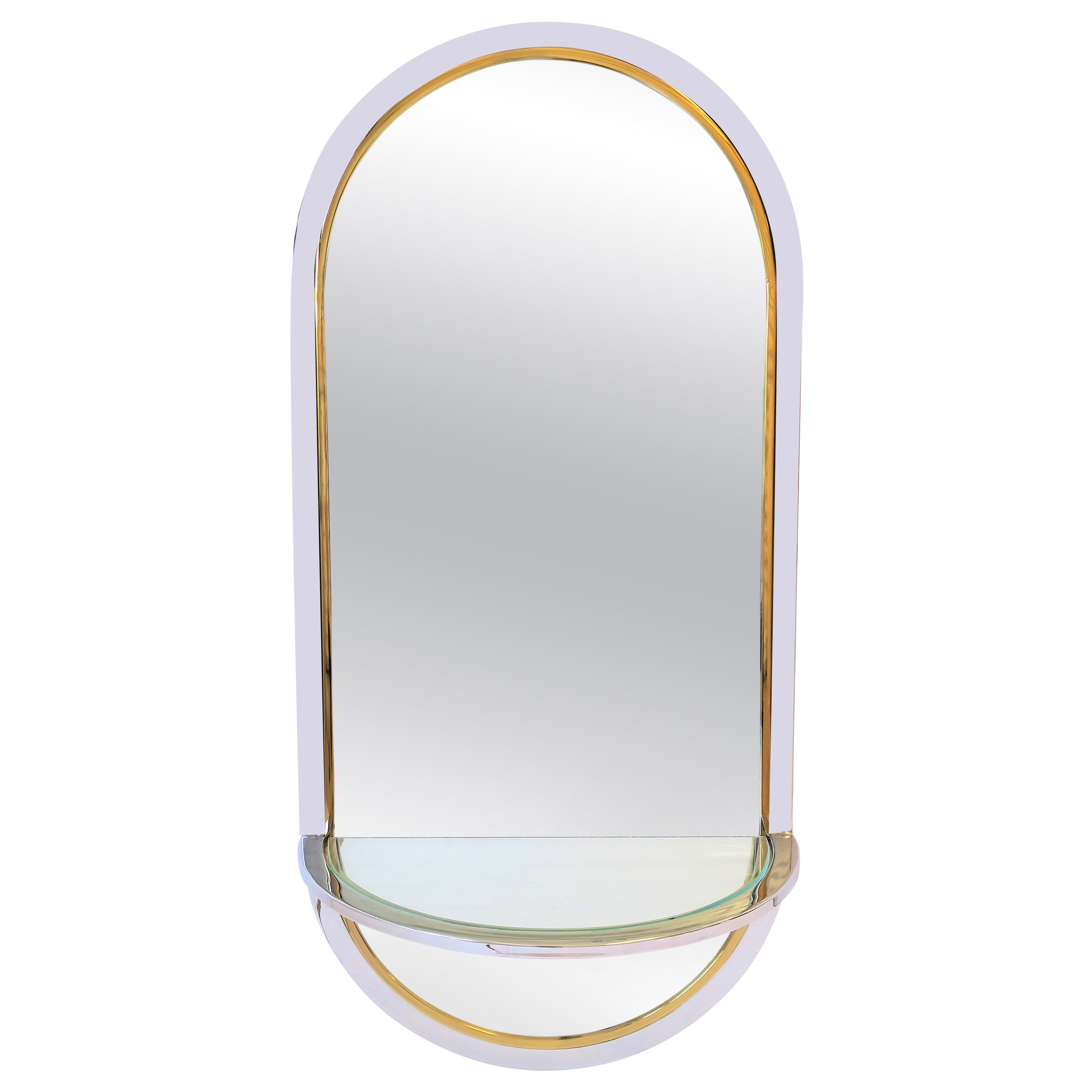 Modern Brass and Chrome Console Wall Mirror