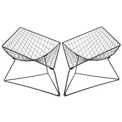 Diamond Shaped Metal Wired Chairs Designed by Niels Gammelgaard in the 1980s