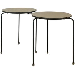 Pair of Slender Tripod Laminate Side Tables with Lucite Details