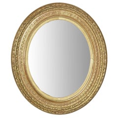 Small-Scale 19th Century Giltwood Oval Mirror with Greek Key