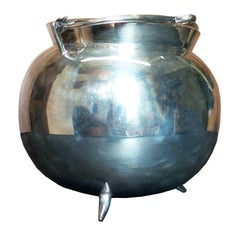 Silver Plated Tripodal Covered Sugar Bowl with Handle