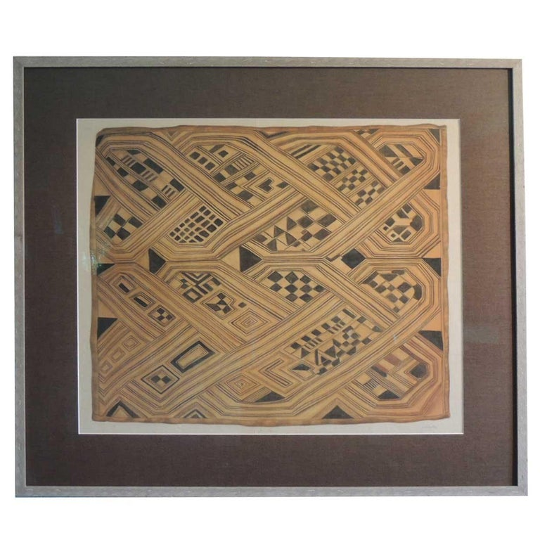 Vintage Framed Hand-Painted African Kuba Textile Motif Gouache