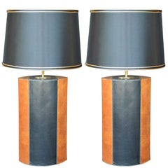 Pair of Brown and Black Leather Lamps