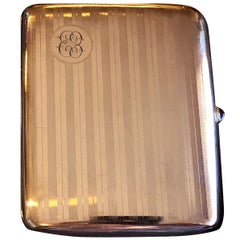Art Deco Gold Cigarette Case 1918 Victory Xmas WWI
