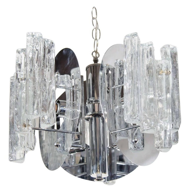 Mid-Century Modern Sculptural Ice Glass Chandelier by Salviati For Sale