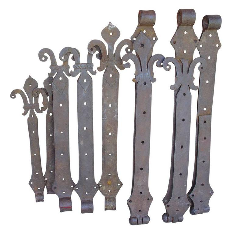 Lot Of Rare 15th Century Forged Iron Door Hinges From