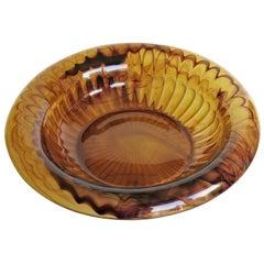 Art Deco George Davidson Large Amber Cloud Glass Bowl Pattern 1910D, Ca 1930