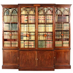 Small George III Mahogany Breakfront Bookcase in the Manner of Thomas Sheraton