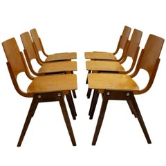 Mid-Century Modern Dining Room Chairs by Roland Rainer Vienna 1952, Set of Eight