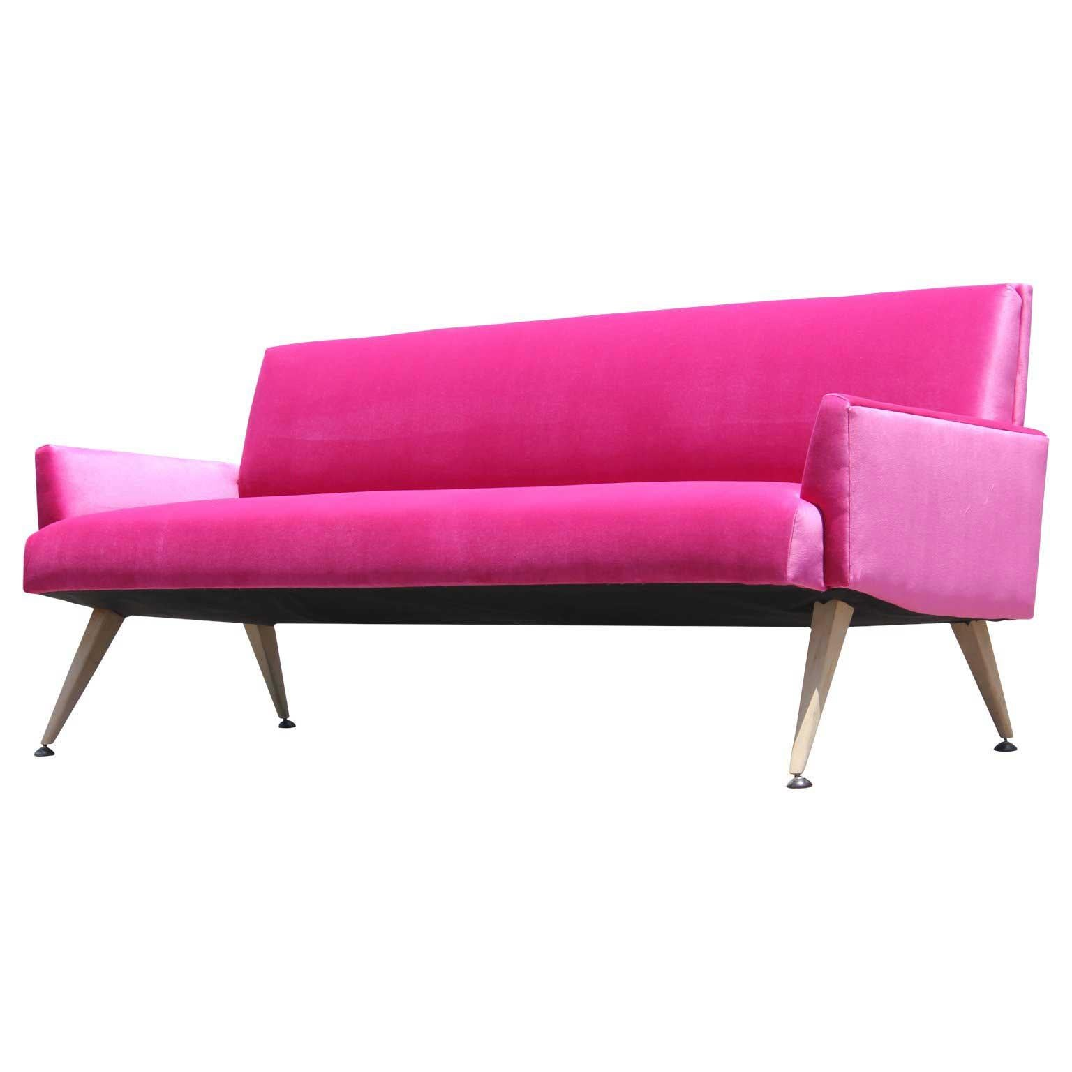 Mid Century Modern Bold Pink Velvet Sofa With Bleached Walnut Tapered Legs  For Sale