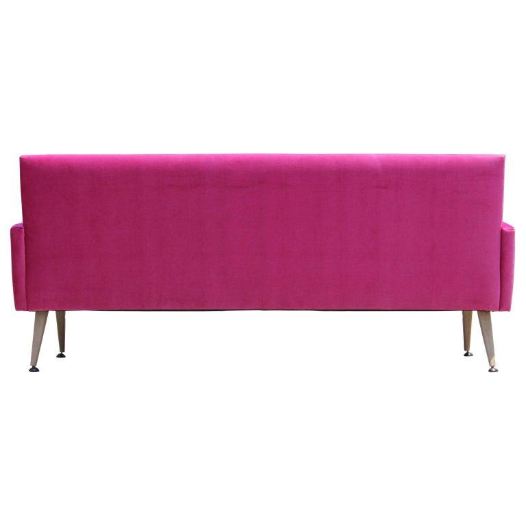 mid century modern bold pink velvet sofa with bleached walnut tapered legs for sale 2 - Pink Velvet Sofa