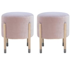 Pair of Modern Custom Blush Purple Velvet Pouf or Stools with Grey Tipped Legs
