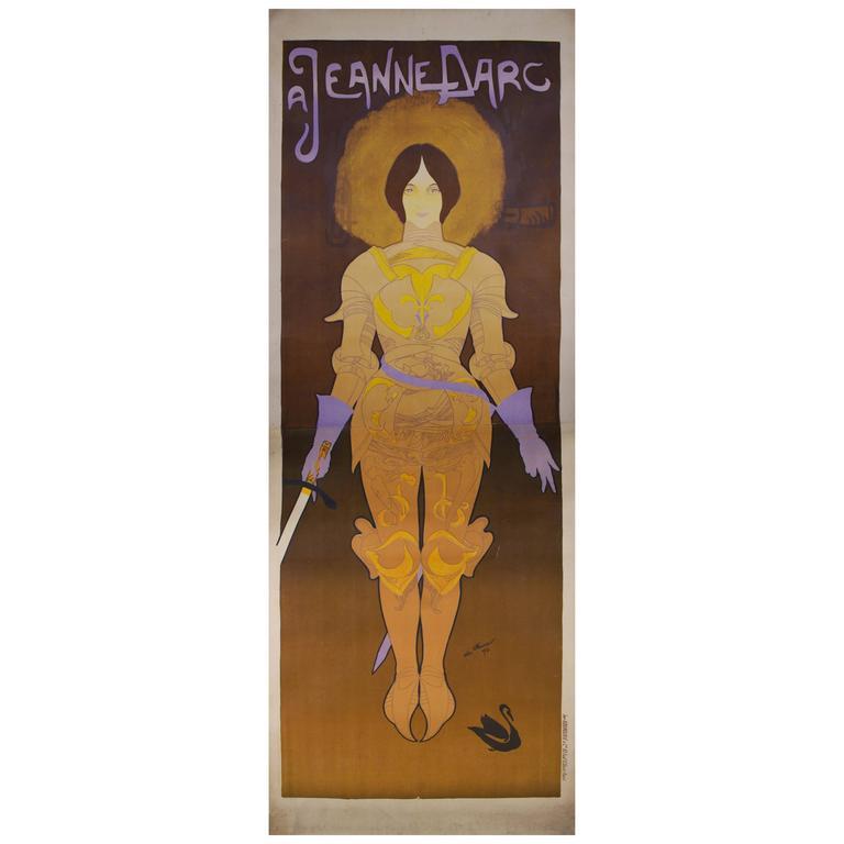 Large french art nouveau period poster by georges de feure for Art nouveau decoration ameublement