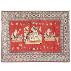 Pictorial Dog Animal Antique Karabagh Rug