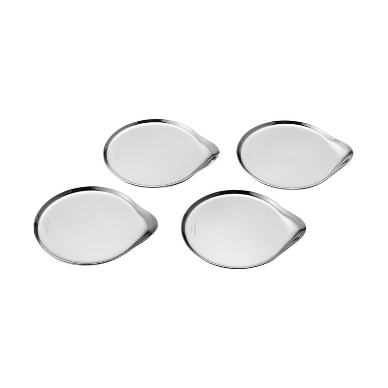 Four Wine & Bar Coasters in Stainless Steel Mirror Finish by Georg Jensen