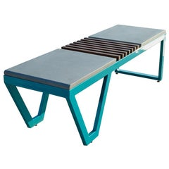 Lunar Bench by Cauv Design Steel / Concrete / Wood for Indoor or Outdoor Use