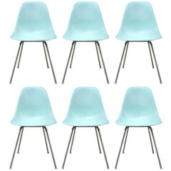 Six Herman Miller Eames Robin's Egg Blue Dining Chairs