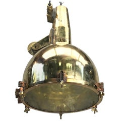 XL Japanese Brass Marine Nautical Searchlight Pendant Lamp, 1970s