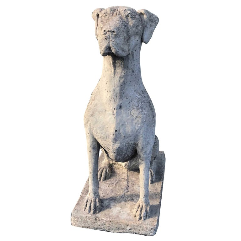 Great Dane Composition Stone Statue by Lucas, English