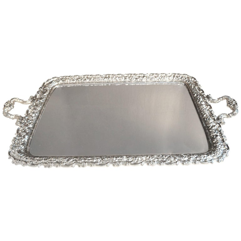 Antique Tiffany & Co. Silver Soldered Repouse Tray For Sale