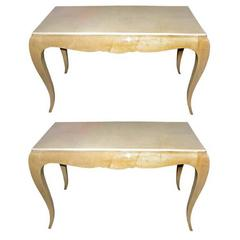 Pair of Sycamore and Parchment End Tables by René Prou