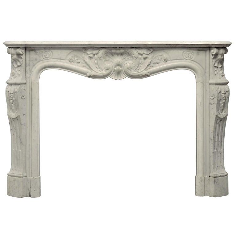 Beautiful Antique Louis XV Fireplace Mantel in Carrara White Marble