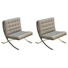 Pair of Modern Solid Brass and Neutral Leather Barcelona Lounge Chairs