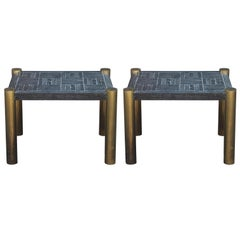 Pair of Modern Brass Side Tables with a Cerused Black Top by Lane Furniture