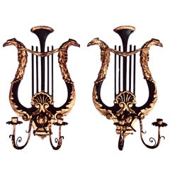 Pair of Italian Wall Sconces, Wood Carved Double Arm Candleholders