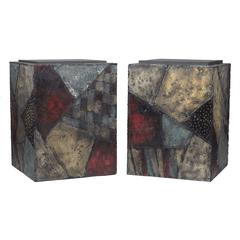Paul Evans Pair of Cube Tables Patinated Steel and Slate USA 1960's