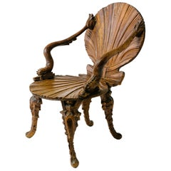 Turn of the Century Italian Fantasy Chair with Dolphin Arms