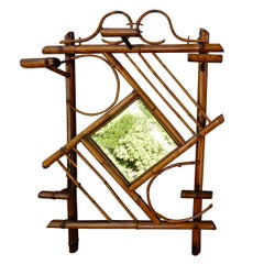 English Antique Bamboo Handcrafted Wall Mirror, 1930s