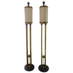 Pair of Brass Torchieres
