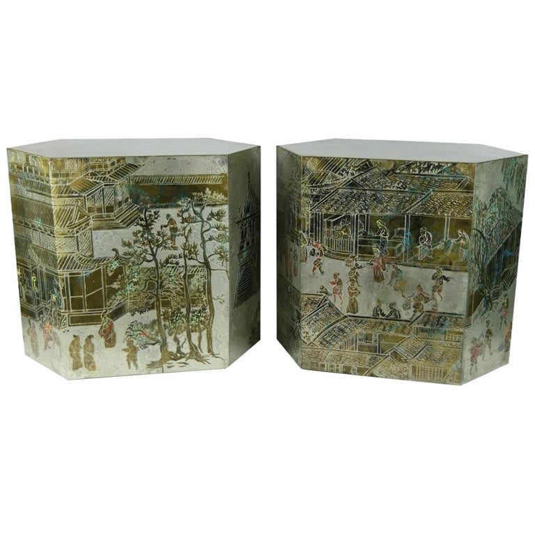 LaVerne Bronze/Pewter Chan Series Side Tables