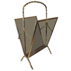 Italian Gio Ponti Inspired Brass and Glass Magazine Rack