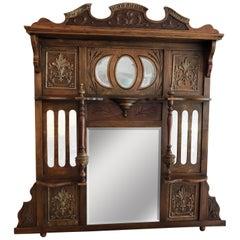 Large Antique Wooden Mirror