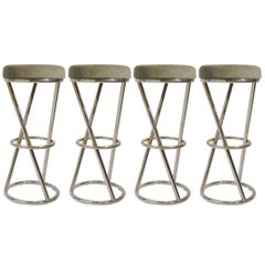 Modernist Bar Stools by Pierre Chareau in Tubular Chrome and Elephant Grey Seats