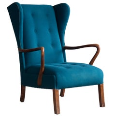 1950s Danish Open Arm Wingback Model 1582 Variant Lounge Chair by Fritz Hansen