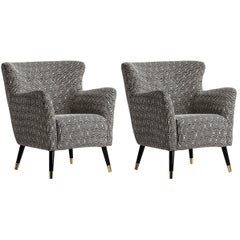 Black and White Velvet and Wood Pair of Armchairs