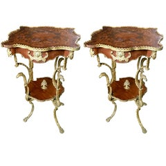 19th Century French Set of Mahogany Inlaid Side Tables, Rich Bronze Decoration