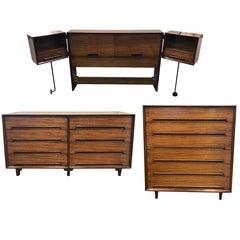 Midcentury Three-Piece Milo Baughman Drexel Perspective Bedroom Set