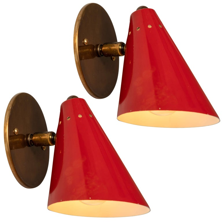 Pair of 1950s Italian Red Cone Sconces in the Manner of Arteluce