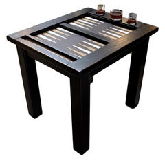 Vintage Ebonized Oak Backgammon Table with Leather Top