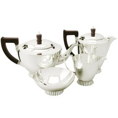 Art Deco Style English Sterling Silver Four Piece Tea and Coffee Service