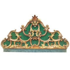 Venetian or Italian Giltwood Robustly Carved Headboard in Rococo Style