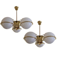 Pair of Midcentury Brass and Glass Globe Chandeliers